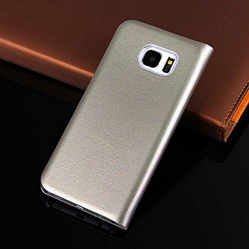 Merssavo Negro Lujo Original para la Cubierta de la Caja del Tirón de la Tarjeta de la Carpeta del Cuero del Borde Para Samsung S7