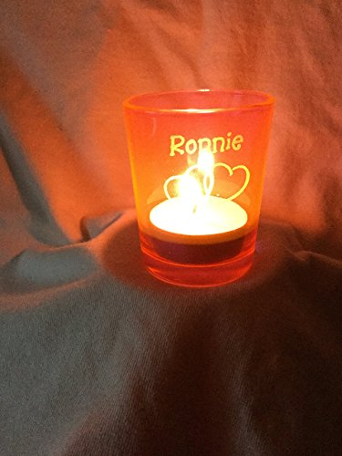 2 Hearts Entwined as 1 Glass Votive Candle Holder, Personally Engraved with Your Loved Ones - Engraved Personally