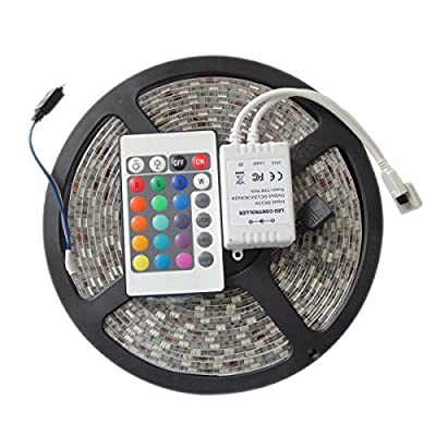 Greenyourlife 12V 16.4ft(5M)/Roll 3528 SMD RGB 300 Leds Color Changing Waterproof Flexible LED Strip Light 60leds/M LED Tape Kit+ 24 Key IR Remote Control