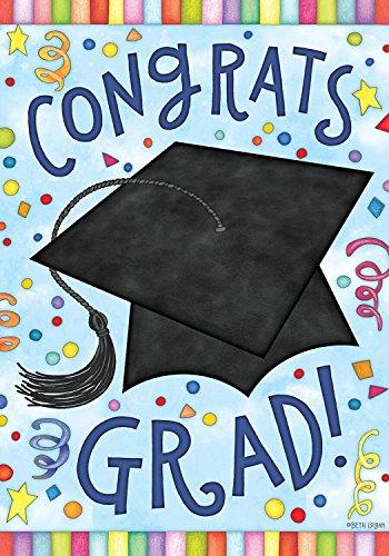 """Congrats Grad House Flag Graduation Cap 28"""" x 40"""" Briarwo..."""