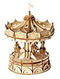Rolife 3D DIY Craft Wooden Model Building Kits Educational Toys Merry-Go-Round