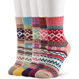 Bighand Cat 5 Pairs Women's Vintage Style Thick Wool Warm Winter Crew Socks (multicolor01)