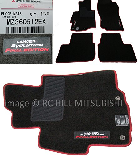 GENUINE MITSUBISHI OEM FACTORY ORIGINAL MZ360512EX FINAL EDITION EVO EVOLUTION X FLOOR MATS SET OF FOUR, BLACK WITH RED TRIM, IN STOCK READY TO (Trim Ships)