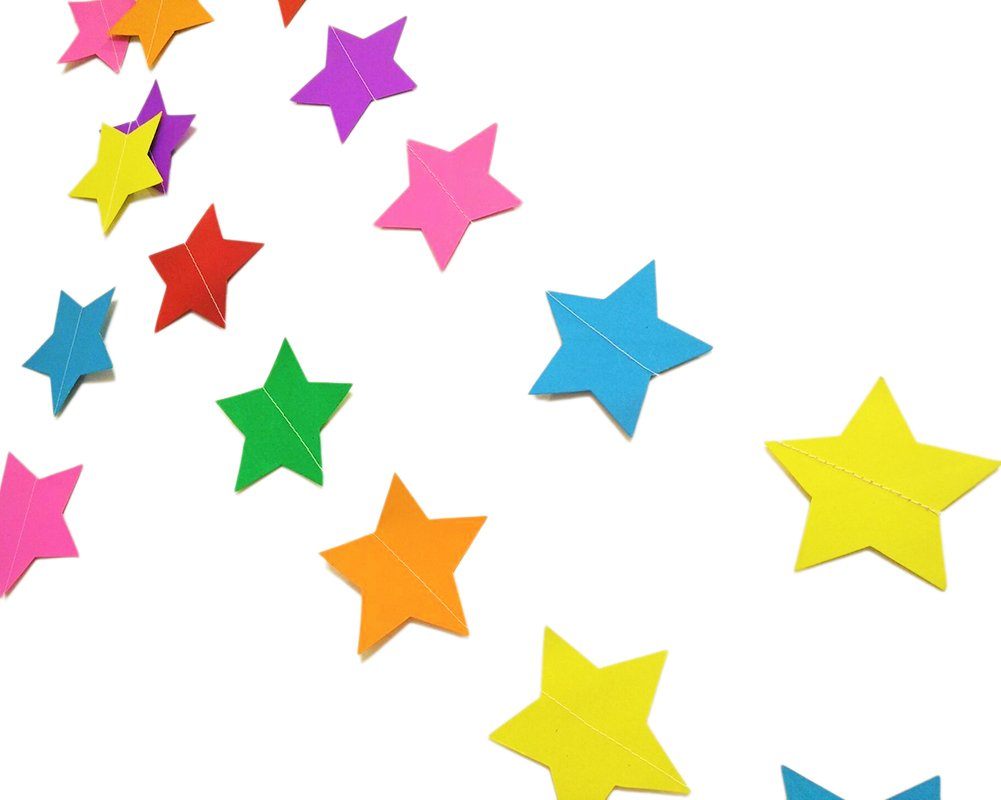 Rainbow Large Stars Hangnuo 4 Meters Star Paper Garland Hanging Decorations for Wedding Birthday Party Nursery Baby Girls Bedroom