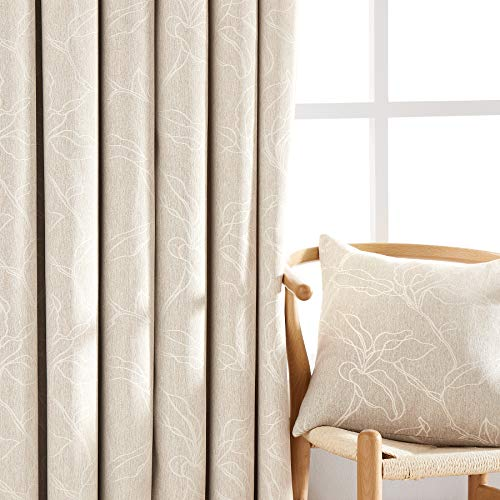 "NATWIN Leaf Linen Curtains 84"" Beige for Bedroom Window Room Darkening Curtain Drapes for Living Room Jacquard Farmhouse Energy Efficient Curtain Panels Grommet Top Set of 2"