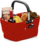 RSVP Red Polyester Collapsible Market Basket with Pocket