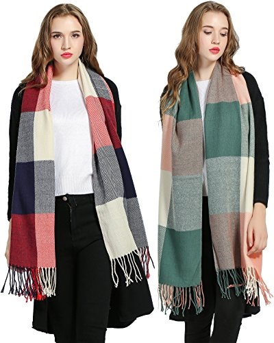 Luxina 2Pcs Large Tartan Scarf Plaid Blanket Shawl Winter Warm Pashmina for Women