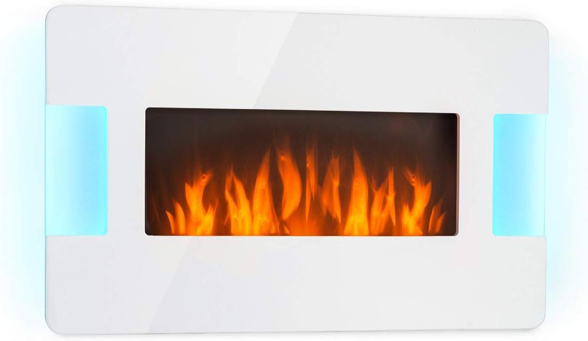 Klarstein Belfort Light & Fire White Edition - Chimenea eléctrica, Efecto llama, 2 potencias: 1000 ó 2000 W, Mando a Distancia, Termostato ajustable, Programable una semana, Montaje en pared, Blan