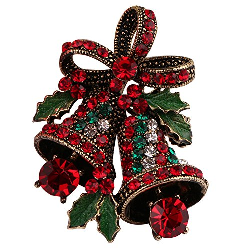 FERVENT LOVE Vintage Christmas Bowknot Double Bells Brooch with Green Leaves and Colorful Rhinestones for Women ()