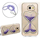 Girlyard For Samsung Galaxy S6 Love Hearts Shaped Hourglass Timer Diamond Phone Case Cover Bling Glitter Sparkle Crystal Clear Liquid Sand Flowing Clock Back Protective Case Cover, Purple