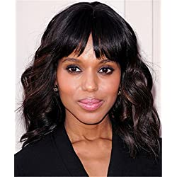 Fashion Short wavy wigs for black women Black Mix Brown Curly Hair Wigs With Bangs None Lace Synthetic Full Wigs Heat Resistant Cosplay Party Custom Wigs(Black Mix Brown)