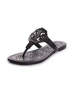e7285e0fda93b Amazon.com  Tory Burch Roselle Cutout Thong Sandals Leather Shoes ...