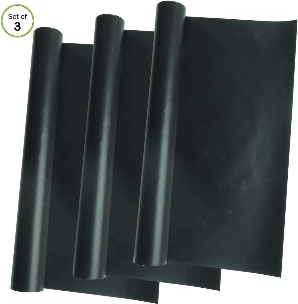 Evelots 6835 Non Stick Heavy Duty Oven Liners Easy to Clean Cut to Fit Reusable,Set/3, 26 X 15, Black