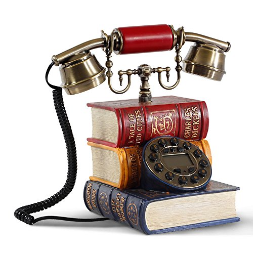 - YYHSND Old-Fashioned Telephone Antique Book Home Rotary Dialing Phone D16 X W14 X H25CM Crafts Jewelry