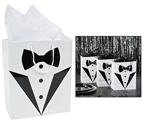 Cool Fun 3-8805 PaPer Medium Tuxedo Wedding Gift Bag - 12 co