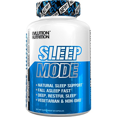 Evlution Nutrition Sleep Mode, Fall Asleep Faster, Melatonin, GABA, Valerian Root & More, Natural Aid for Deeper Sleep & Relaxation, 60 Non-Habit-Forming Vegetarian Capsules