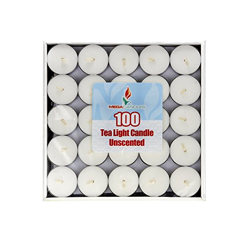 Charm Wedding Unity Candle - Mega Candles Unscented White Tea Light Candle | 100 pcs Wax Candles 1.5