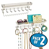 mDesign Decorative Metal Closet Wall Mount Jewelry Accessory Organizer for Storage of Necklaces, Bracelets, Rings, Earrings, Sunglasses, Wallets - 8 Large/11 Small Hooks, 1 Basket - 2 Pack, Satin