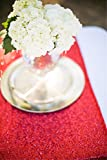 LQIAO Red Sequin Table Runner-13x108inch Sparkly Shimmer Sequin Fabric, Sequin Table Runner, Sequin Tablecloth, Table Linens Wedding Dining Party Shiny Decoration(18PCS)