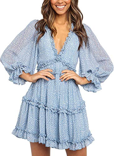Happy Sailed Women V Neck Floral Dresses Summer Ruffles Swing Mini Dress Medium Sky Blue