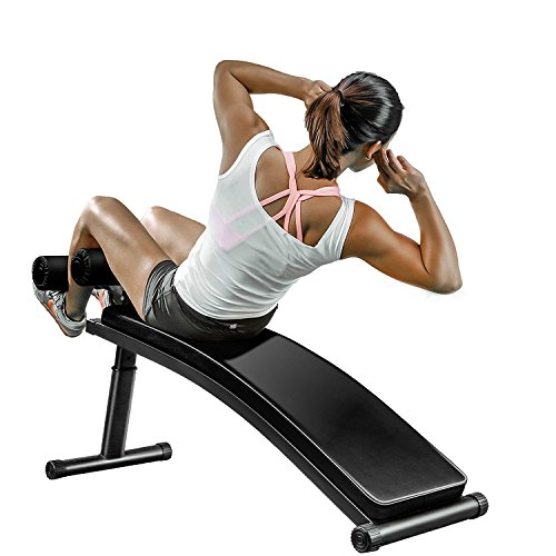Finer Form Sit Up Bench with Reverse Crunch Handle for Ab Exercises, Black (Best Crunches For Abs)