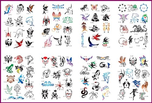 Master Airbrush Brand Airbrush Tattoo Stencils Set Book #9 Reuseable Tattoo  Template Set, Book Contains 100 Unique Stencil Designs, All Patterns Come