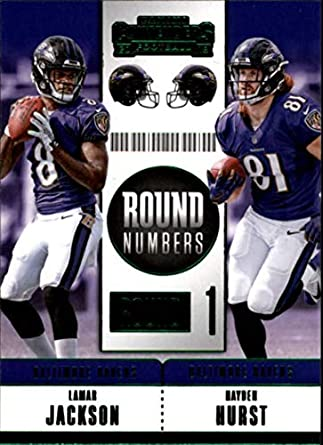ef1d4942c Amazon.com  2018 Panini Contenders Round Numbers Emerald  RNA-JH Hayden  Hurst Lamar Jackson Baltimore Ravens NFL Football Trading Card   Collectibles   Fine ...