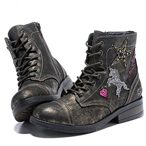 WOBAOS Casual Girls/Womens Boots Hip-hop/Fashion Shoes Side Zipper Anti-Skid Boots(Big Kid/Women)