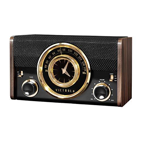 Victrola Mid-Century Modern Bluetooth Clock Speaker in Espresso (Retro Alarm Clock Radio)