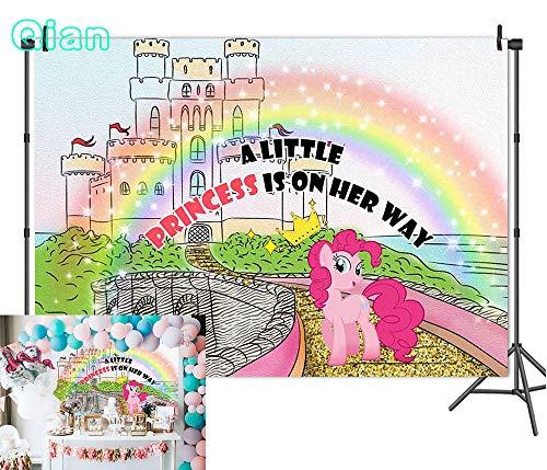 Qian Vinyl 7x5ft Fairytale Castle Rainbow Unicorn Photography Backdrops Girl Princess 1st Birthday Party Decoration Photo Background Studio Props Cake Table Banner