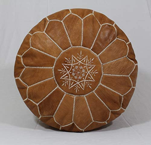 Handmade Morocco Moroccan Leather Pouf Ottoman, 20 Diameter 13 Height Tan Brown White Stitches