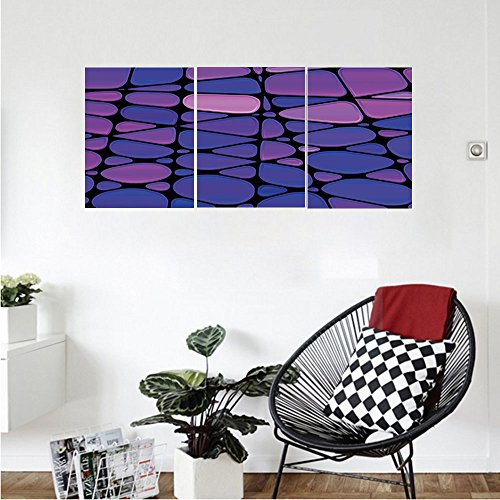 Gauge Purple Uv Acrylic (Liguo88 Custom canvas Abstract Contemporary Stained Glass Design with Graphic Drops Mosaic Vibrant Pattern Wall Hanging for Bedroom Living Room Purple Pink Black)