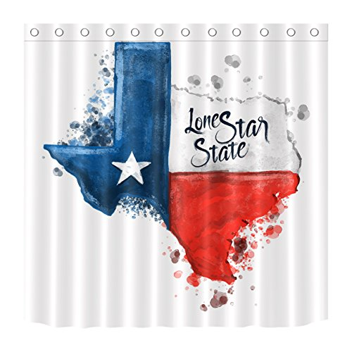 LB Watercolor Lone Star State Flag Unique Shower Curtain by, American West Texas Theme Bathroom Decorations, 59 W x 70 L Fabric Shower Curtain Waterproof Anti Mold -