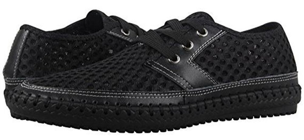 Forucreate Men's Casual Flat Lace up Walking Shoes Summer Breathable Mesh Quick Dry Water Aqua Shoes(Black 43)