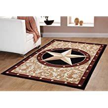 Texas Western Star Rustic Cowboy Decor Gold brown black Area Rug 626 Furnishmyplace -8x10