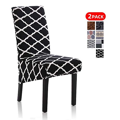 Stretch Dining Chair Slipcovers, Removable Washable  Soft Spandex Geometric Print Large Dining Room Chair  Covers for Kitchen Hotel Table Banquet (2 Per Set, Black)