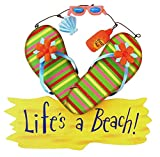 Life's a Beach Wood Sign with Flip Flops and Metal Accents