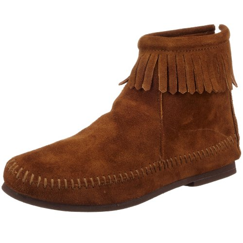 Minnetonka Women's Back Zipper Bootie,Dusty Brown,6.5 M (Fringed Mens Boots)