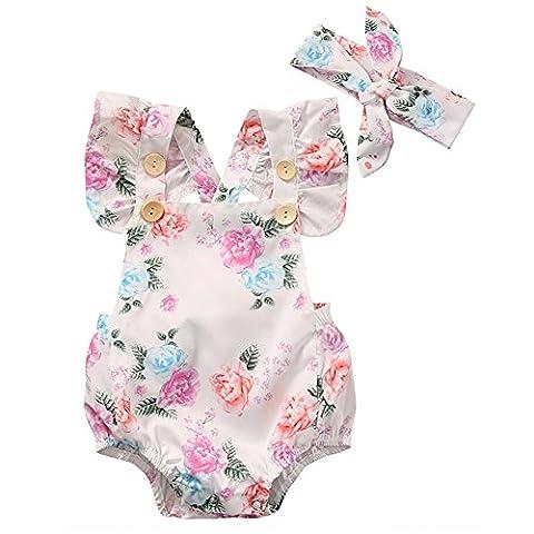 GRNSHTS Baby Girls Full Flower Print Buttons Ruffles Romper Bodysuit With Headband (80cm / 6-12 Month, - Flower Button