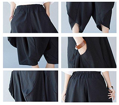 Vintage Bolsillos Pantalones Nuevo Sueltos Loose Casual Bohemia Mujeres Con Negro De Pants Harem Feoya RqSUxnFA
