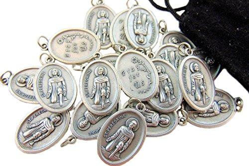 Westman Works Bulk Medal Lot Set of 20 St Peregrine Metal Saint Pendant W Bag From Italy