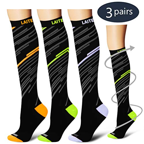 Laite Hebe Compression Socks,(3 Pairs) Compression Sock Women & Men - Best Running, Athletic Sports, Crossfit, Flight Travel£¨Multti-colors13-S/M£