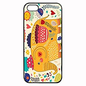 Happy Elephant with A Red Hat and Flowers Stylish Photo Printed Plastic Rubber Sillicone Customized iPhone 5 Case, iPhone 5S Case Cover, Protection Quique Cover, Perfect fit, Show your own personalized phone Case for iphone 5 & iphone 5S