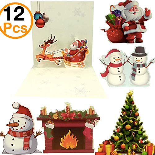 Christmas Greeting Cards OHill 12 Pack 3D Pop Up Christmas Cards Colorful Merry Christmas Cards & Envelopes Xmas Cards Bulk