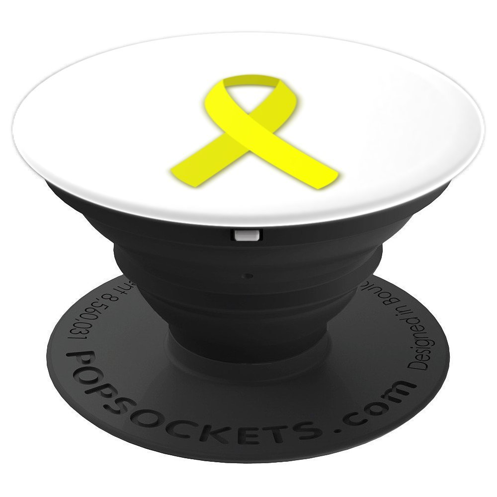 Yellow Ribbon: Sarcoma, Bladder / Liver Cancer Awareness - PopSockets Grip and Stand for Phones and Tablets