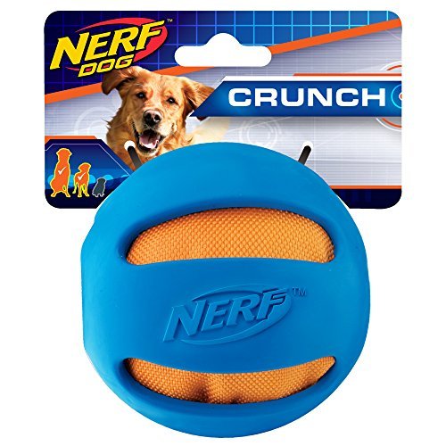 Nerf Dog Crunch and Squeak Rubber Ball Dog Toy, Medium/Large
