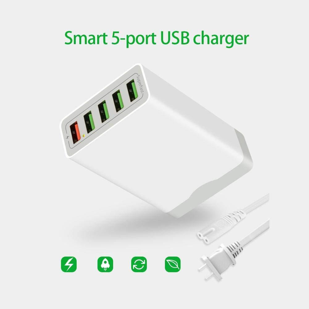 Alian Cargador MóVil RáPido 5 Puertos USB Qc 3.0 Carga RáPida,36W Cargador RáPido Pared Quick Charge 3.0 para Android Y Tipo C para Smartphone iPhone ...
