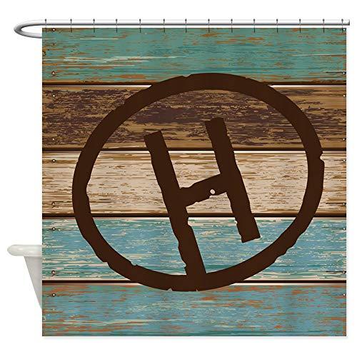 - CafePress H Monogram Branding Iron Decorative Fabric Shower Curtain (69