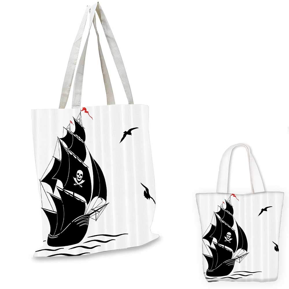 Pirate portable shopping bag Silhouette of Old Sail Pirate Ship Flying Seagulls Ocean Waves Jolly Roger shopping bag for women Black White Red 15x15-11