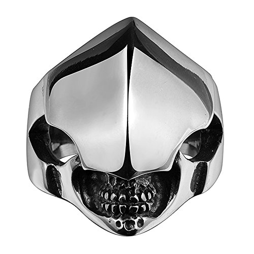 (HongBoom Jewelry Men's Vintage Gothic Alien Skull Rings 316L Stainless Steel Rock Punk Princess Ring High Polished Size 8-11 (9))